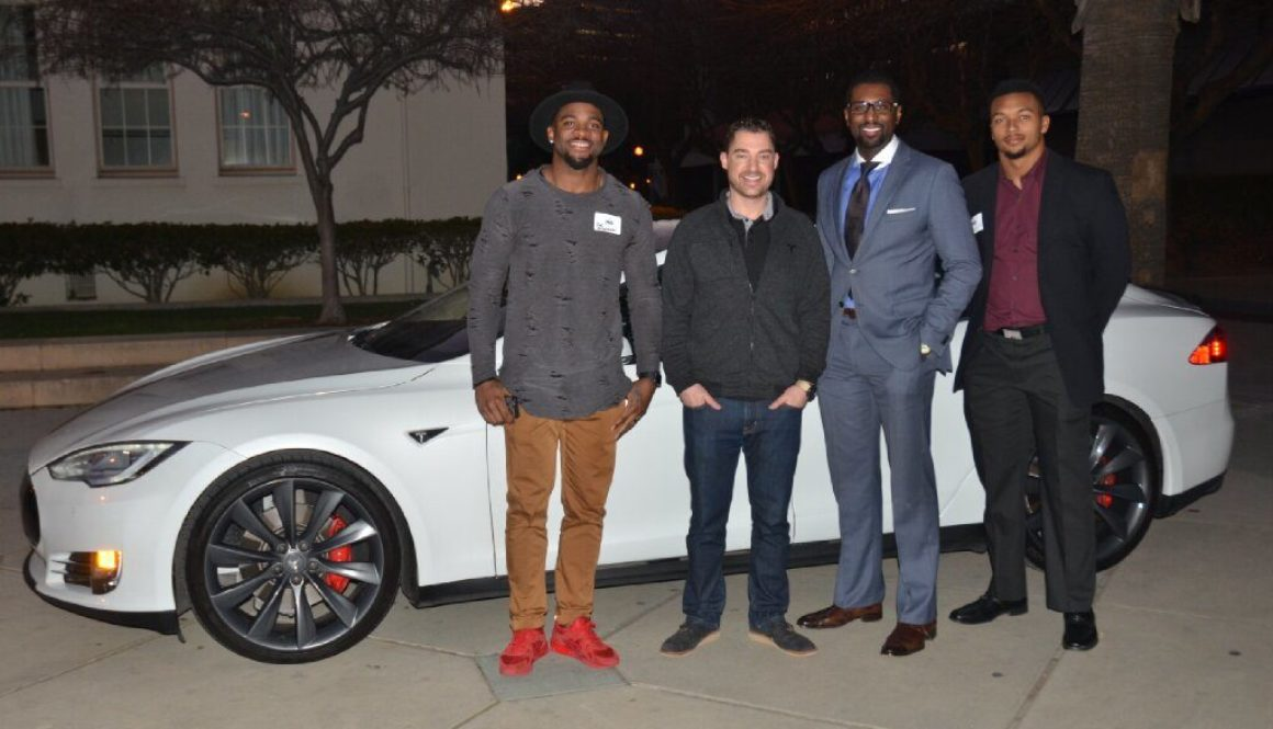 Professional Athletes and Business Professionals Testing Driving the 2016 Tesla
